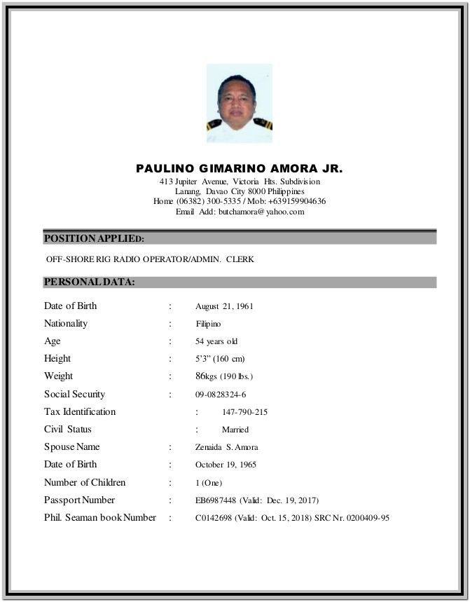 Seafarer Resume Format Free Download