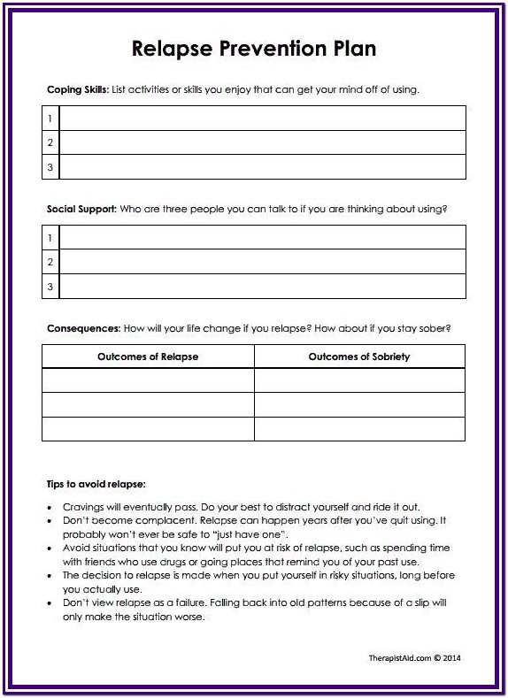 Substance Abuse Group Worksheets