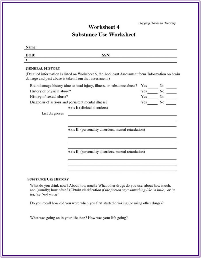 Substance Abuse Treatment Worksheets Pdf