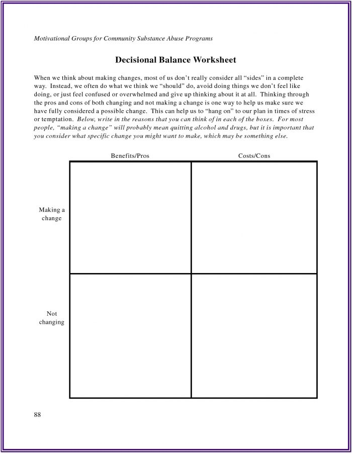 Substance Abuse Worksheets Pdf