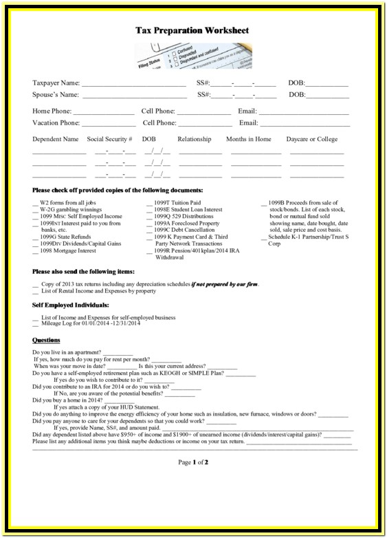 Tax Preparation Worksheet Pdf