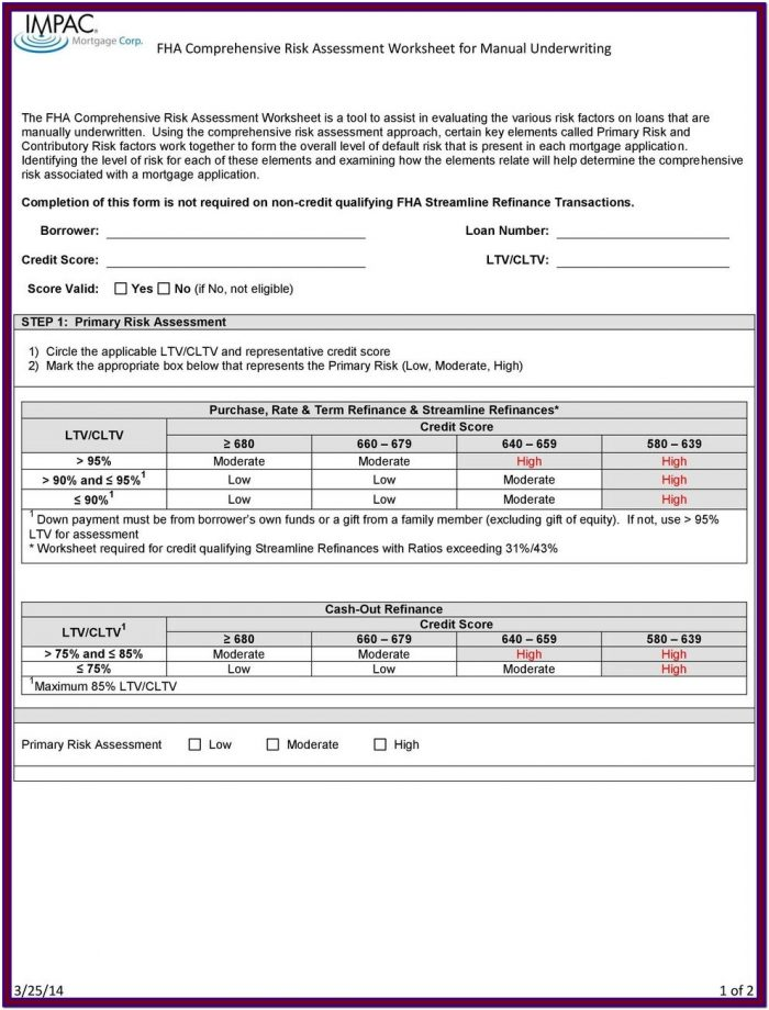 Fha Cash Out Refinance Worksheet