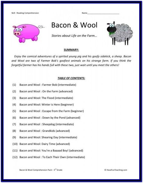 Free Reading Comprehension Worksheets For 2nd And 3rd Grade