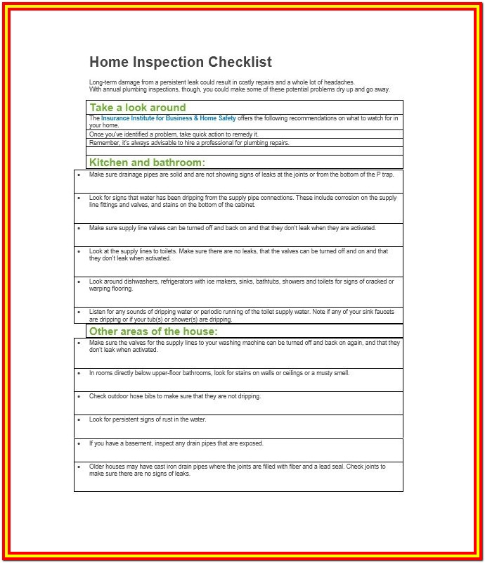 Home Inspection Checklist Va