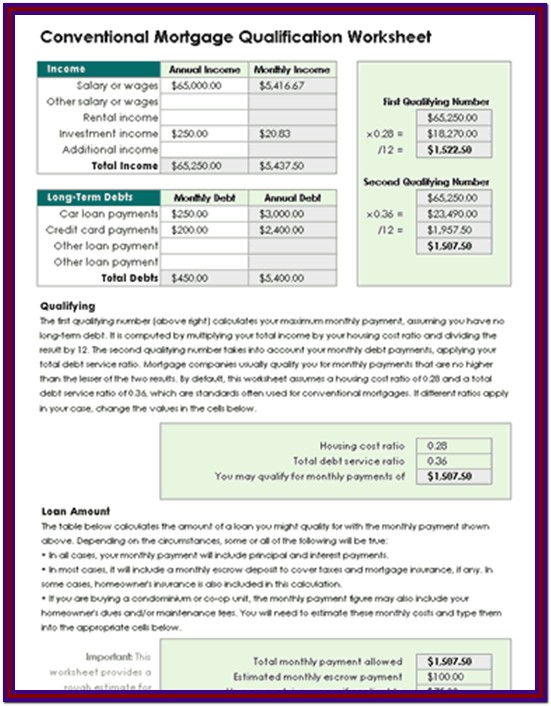 Mortgage Loan Qualification Worksheet