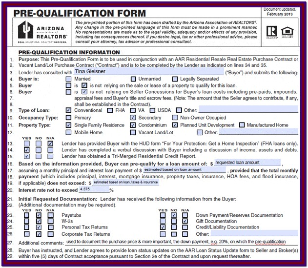 Mortgage Pre Qualification Worksheet