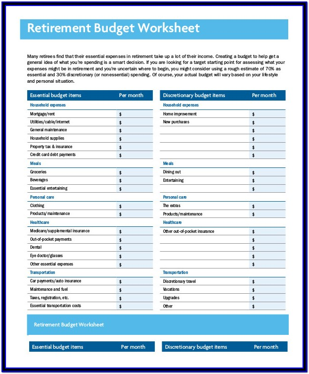 Retirement Planning Budget Worksheet