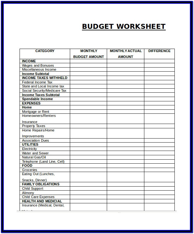 Small Business Monthly Expenses Worksheet