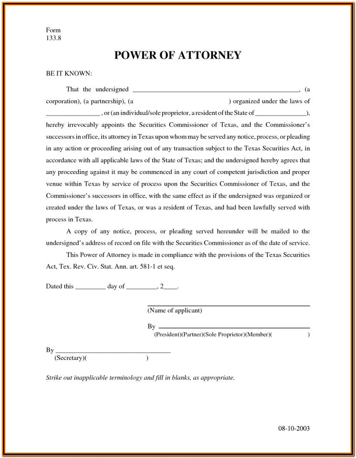 Durable Power Of Attorney Form Free