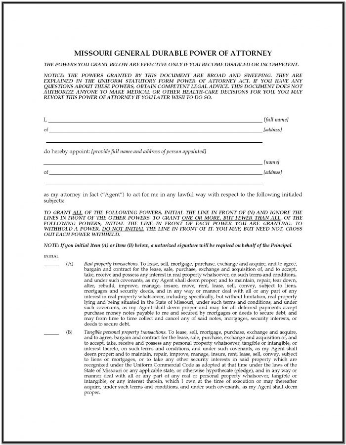 Durable Power Of Attorney Form Missouri