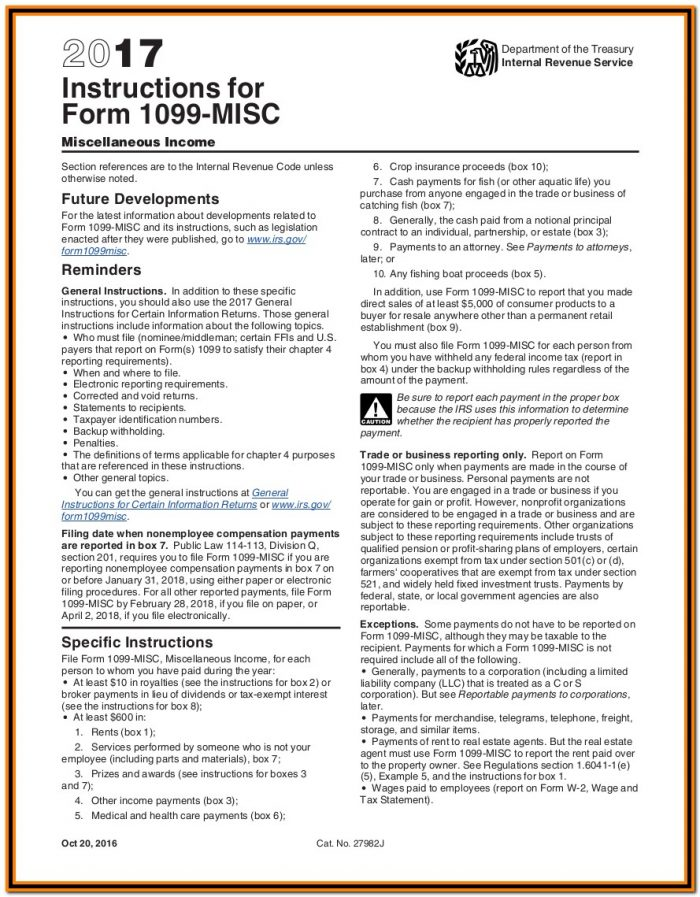 Irs 1099 Form 2017 Instructions