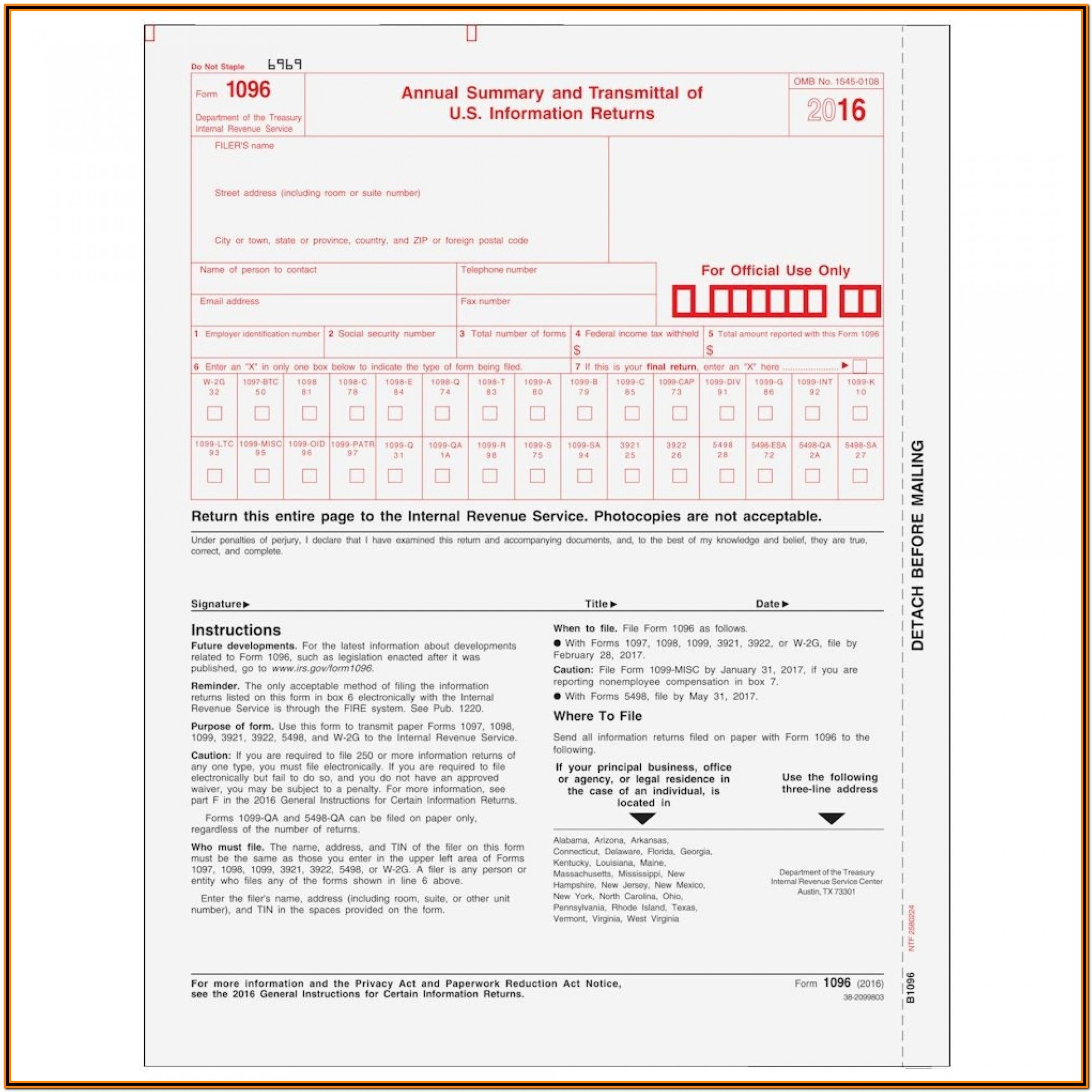 Irs Form 1099 Misc And 1096