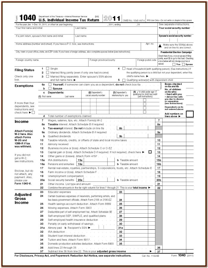 Irs Forms 1040 Instructions
