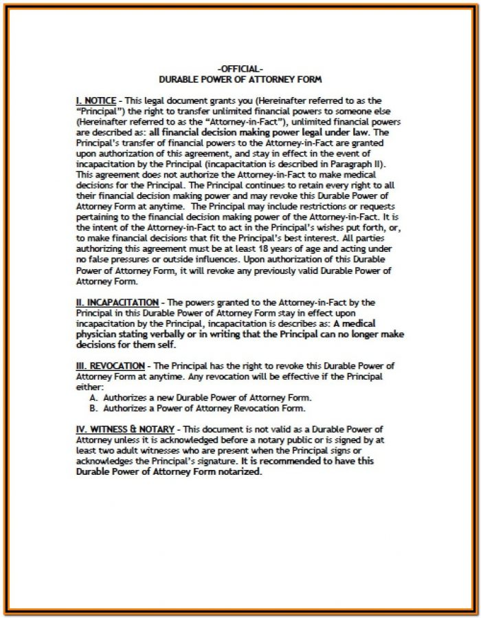 Vermont Durable Power Of Attorney Form Free