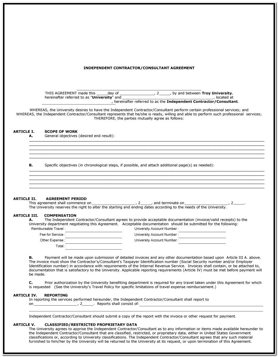 1099 Form Independent Contractor Form