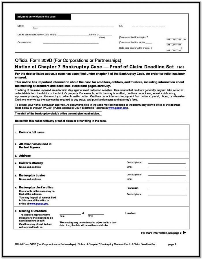 Bankruptcy Chapter 7 Forms Pdf