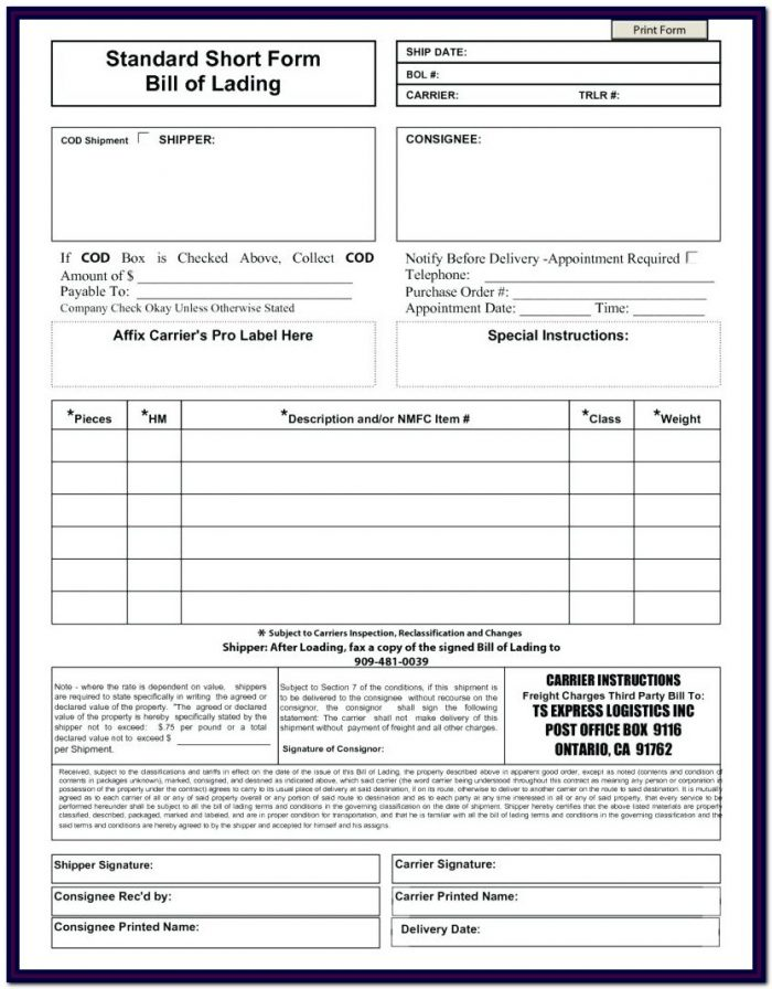 Bill Of Lading Form Doc