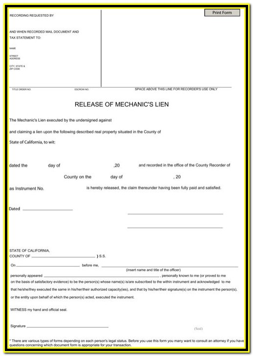 California Mechanics Lien Release Form 2014