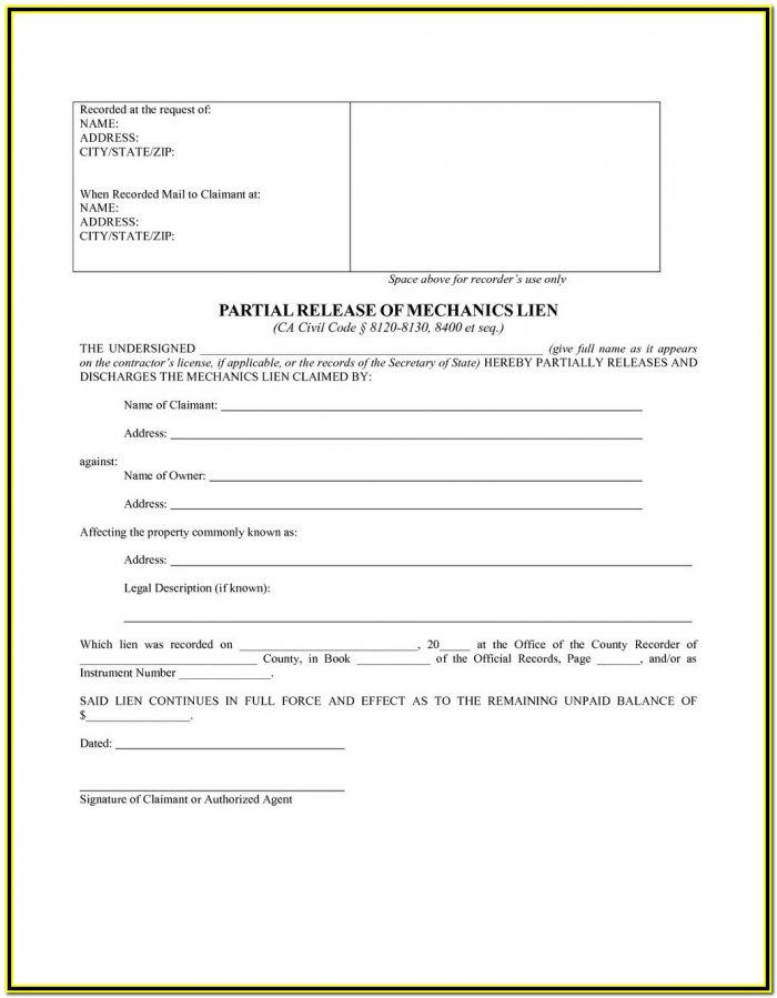 California Release Of Mechanic's Lien Bond Form
