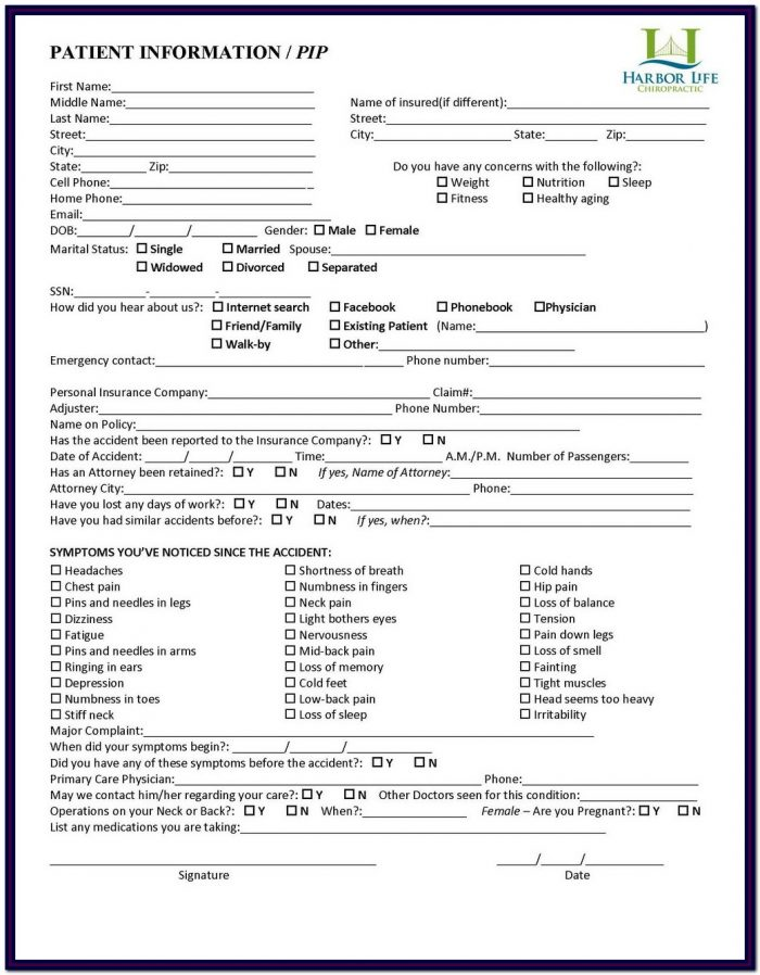 Chiropractic Intake Forms Word