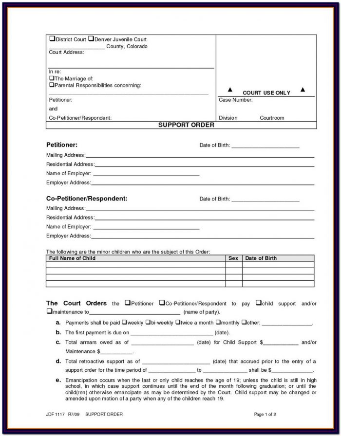 Colorado Divorce Forms Jdf 1101