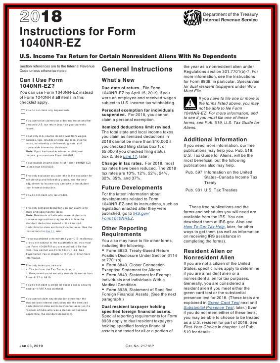 Federal Tax Return Form 1040nr