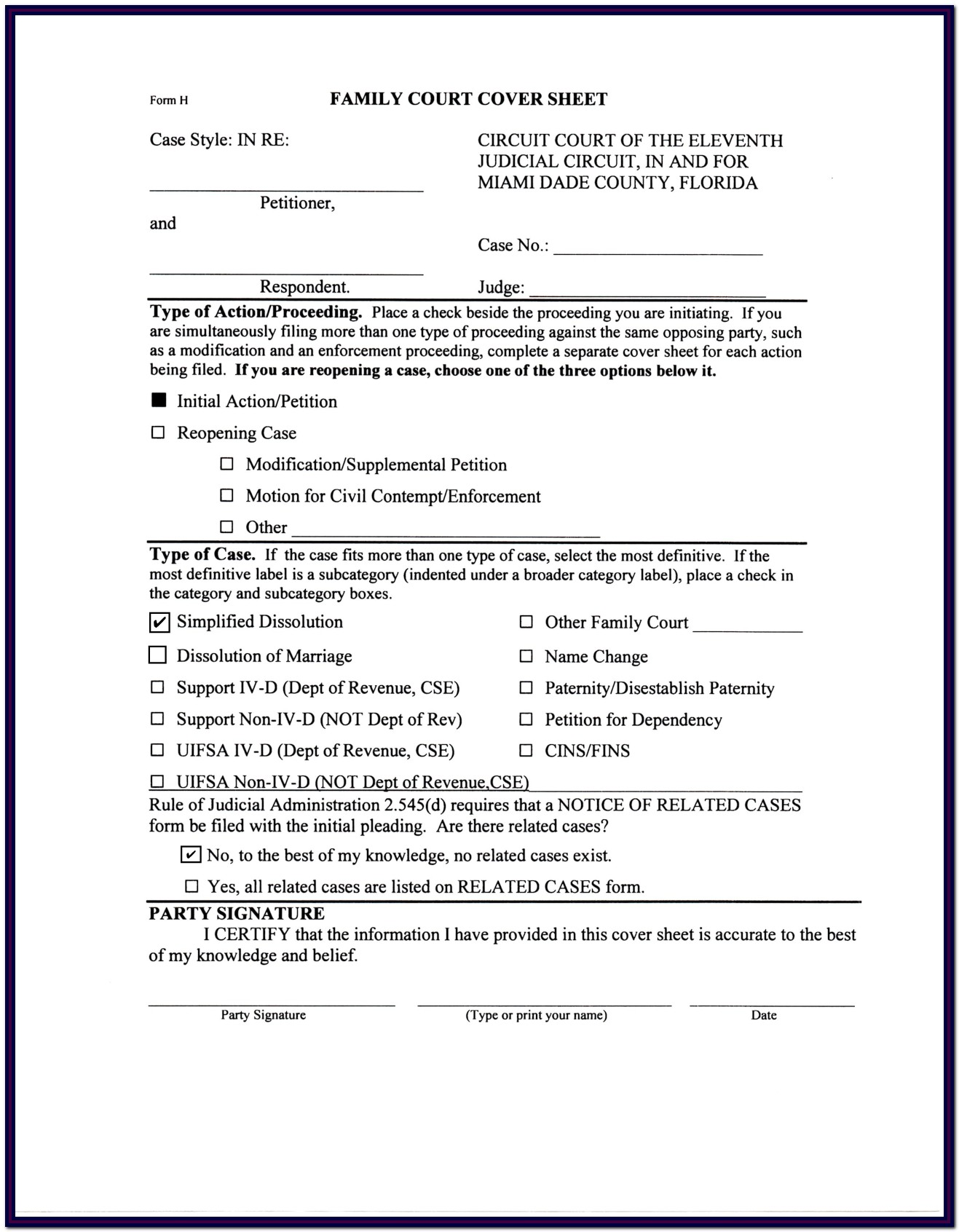 Florida Divorce Forms Uncontested