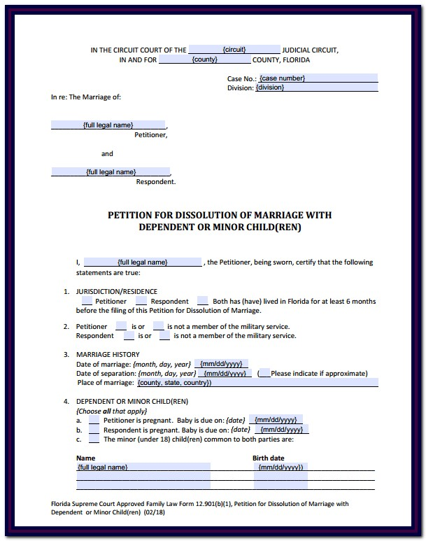 Florida Divorce Forms With Minor Child