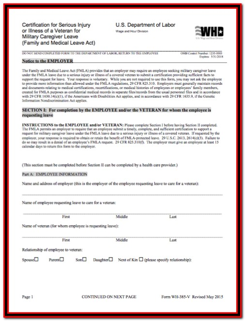 Fmla Forms For Caregiver