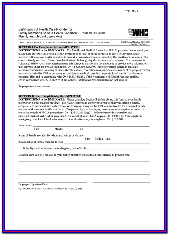 Fmla Printable Forms Family Member