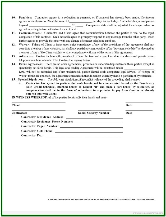 Free 1099 Contractor Form