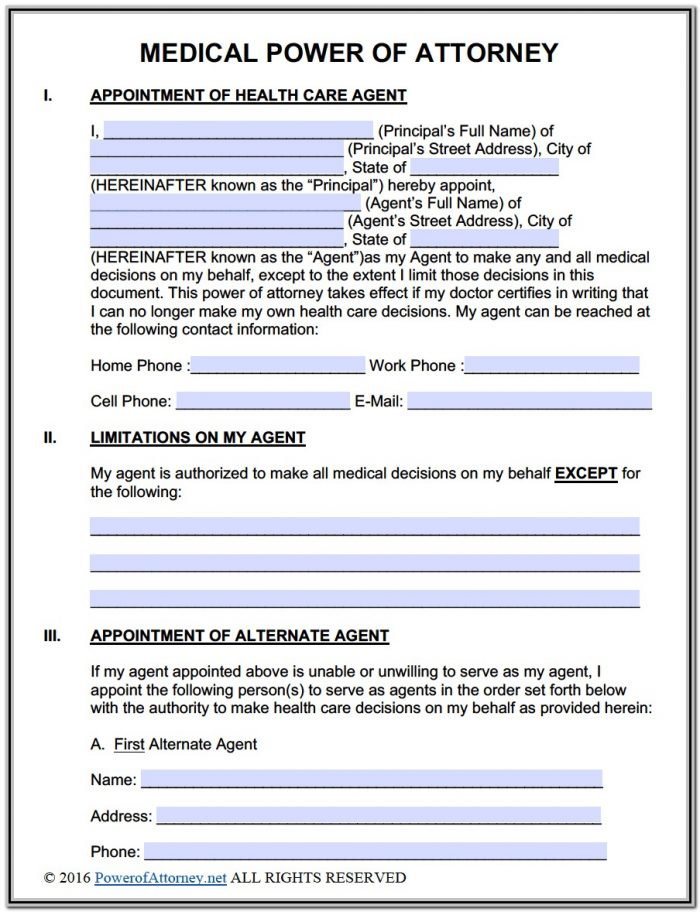 Free Durable Power Of Attorney Form Texas