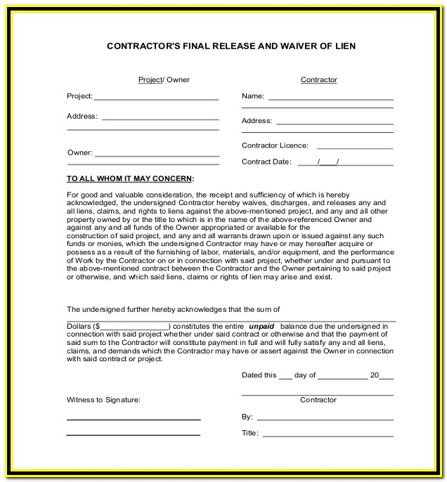 Free Texas Construction Lien Form