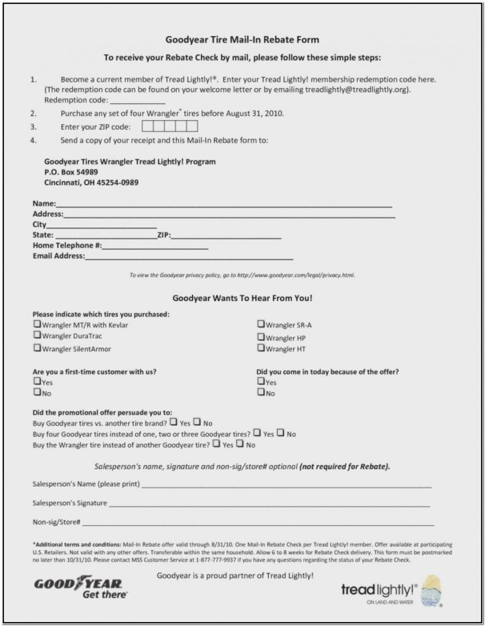 Goodyear Rebate Form 2017