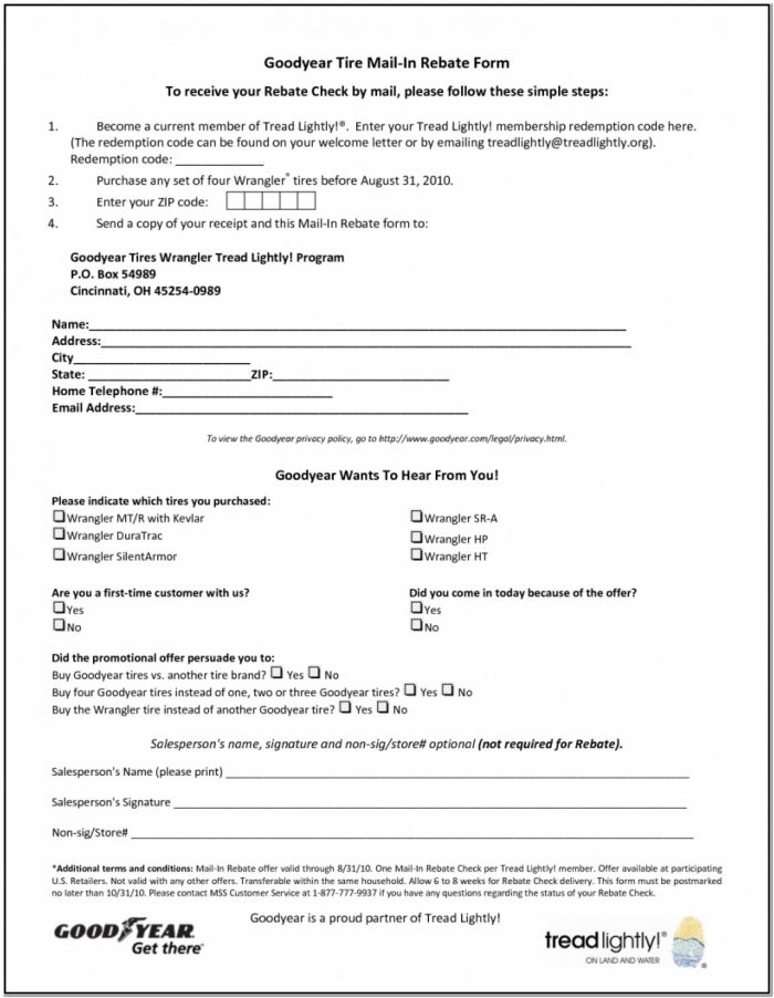 Goodyear Rebate Form March 2019