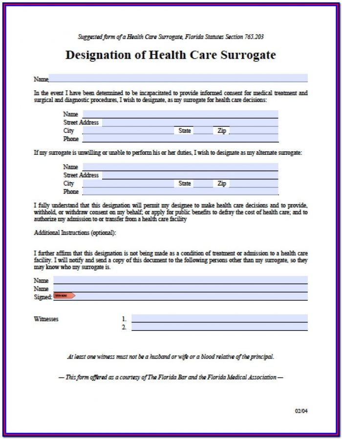 Health Care Power Of Attorney Form Florida