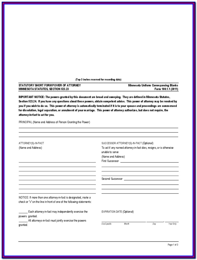 Health Care Power Of Attorney Form Mn