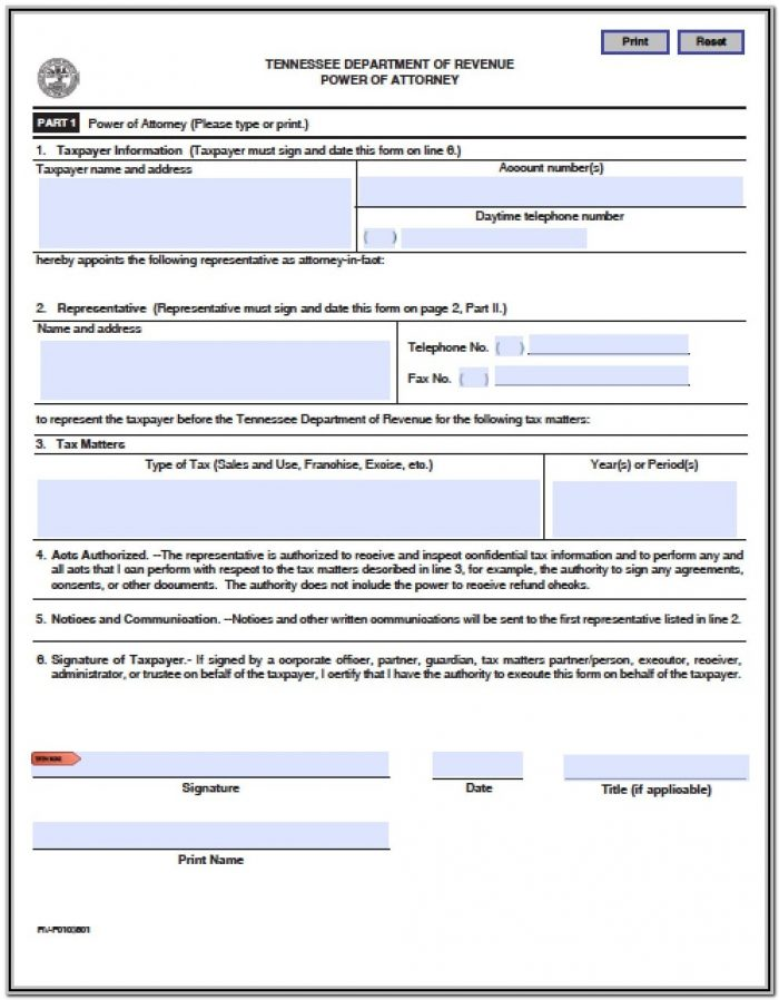 Healthcare Power Of Attorney Form Tn
