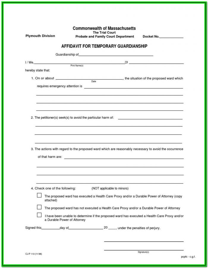 Legal Guardianship Forms Pdf Texas