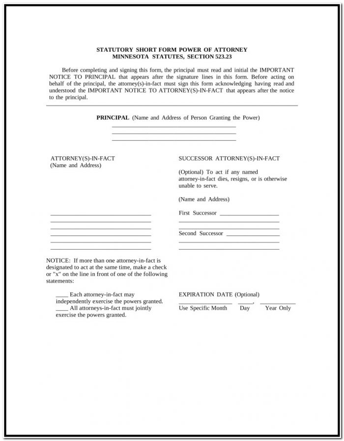 Free Minnesota Power Of Attorney Forms Word | Pdf | Eforms – Free For Power Of Attorney Form Mn