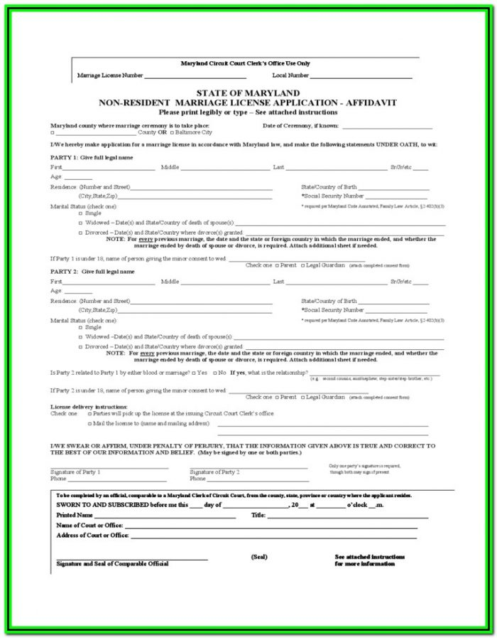 Maryland Divorce Filing Requirements