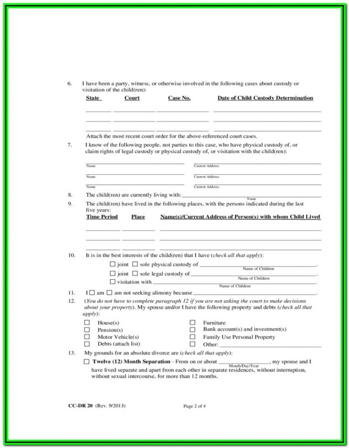 Maryland Limited Divorce Forms