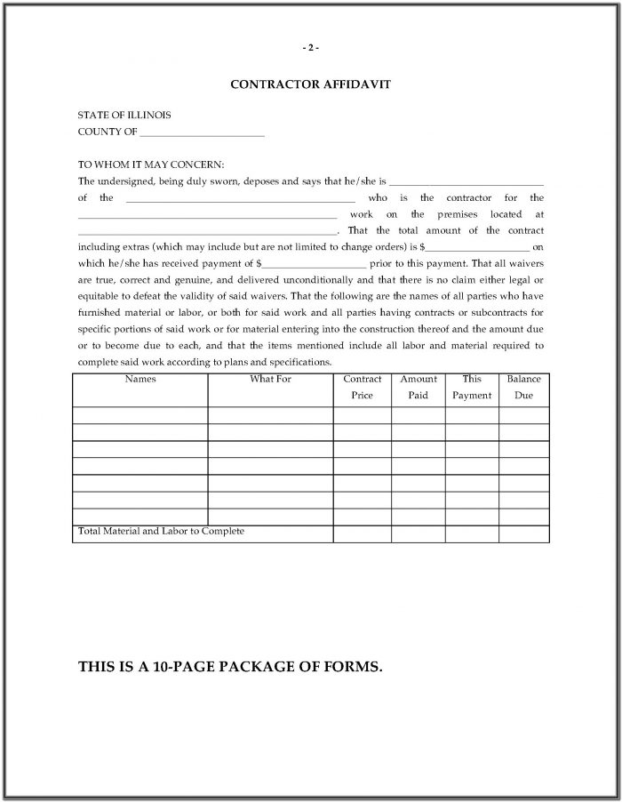 Mechanics Lien Form Illinois