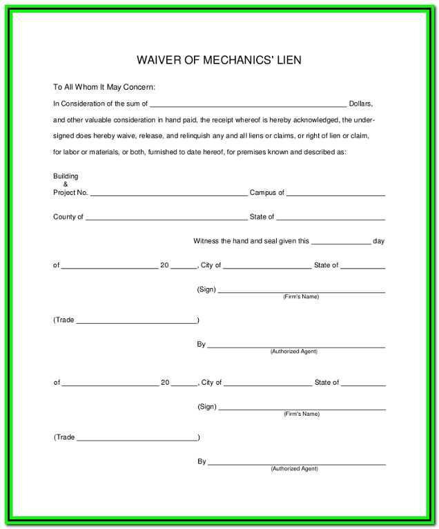 Mechanics Lien Form Michigan