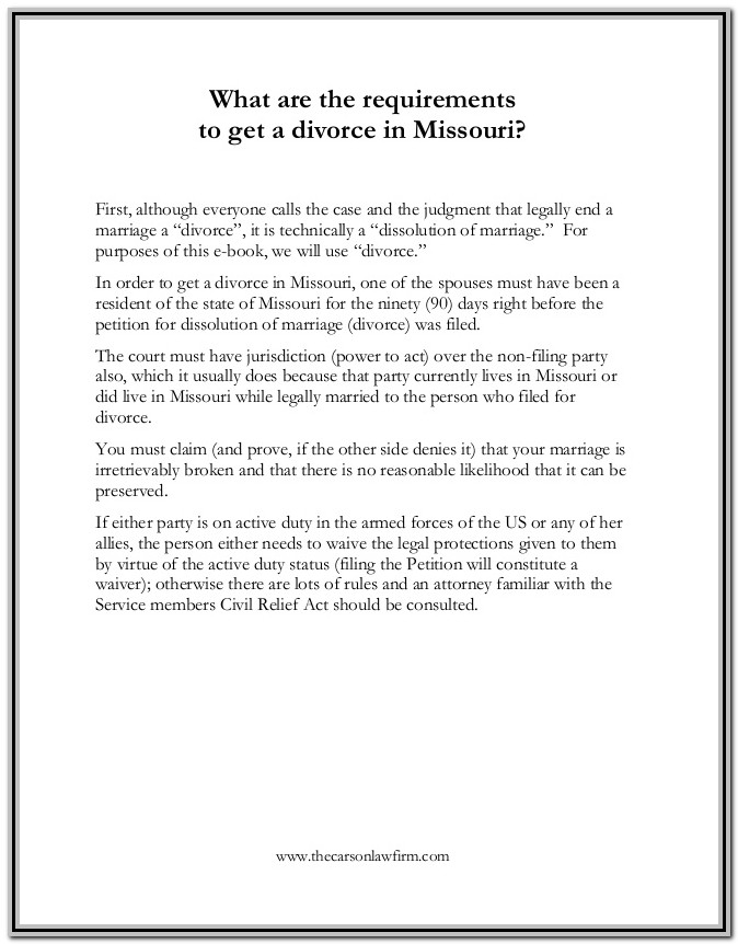 Missouri Court Forms Divorce