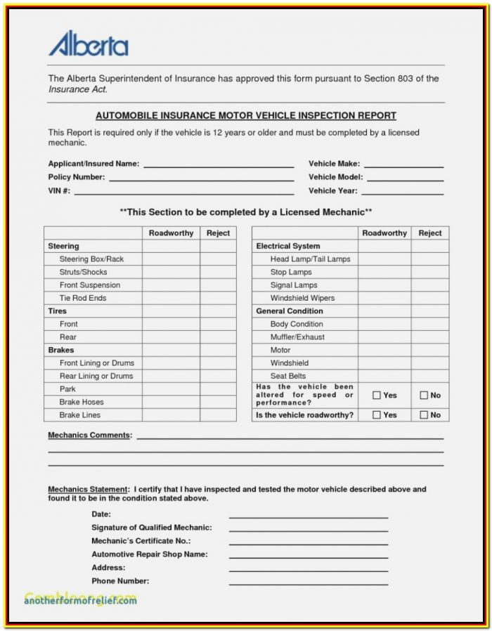 Monthly Vehicle Inspection Form Template
