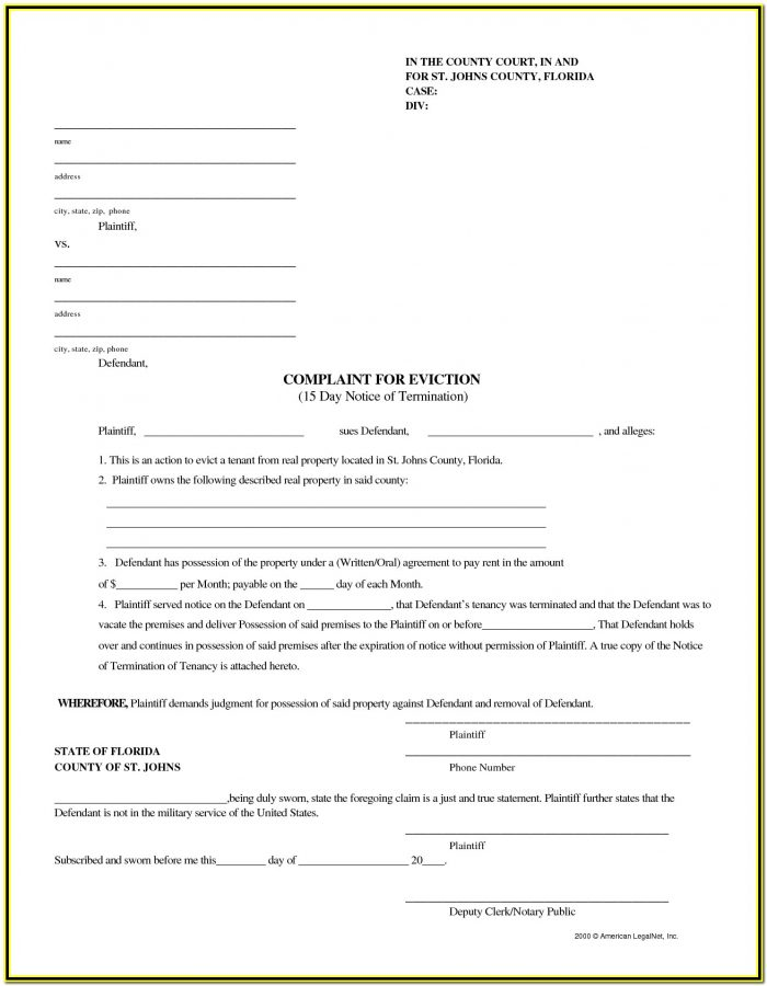 Notice Of Eviction Form Florida