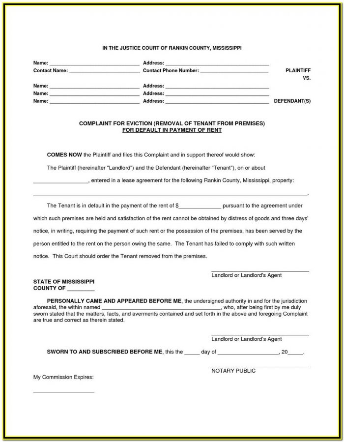 Notice Of Eviction Form Indiana