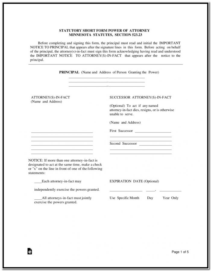 Power Of Attorney Form Mn Free