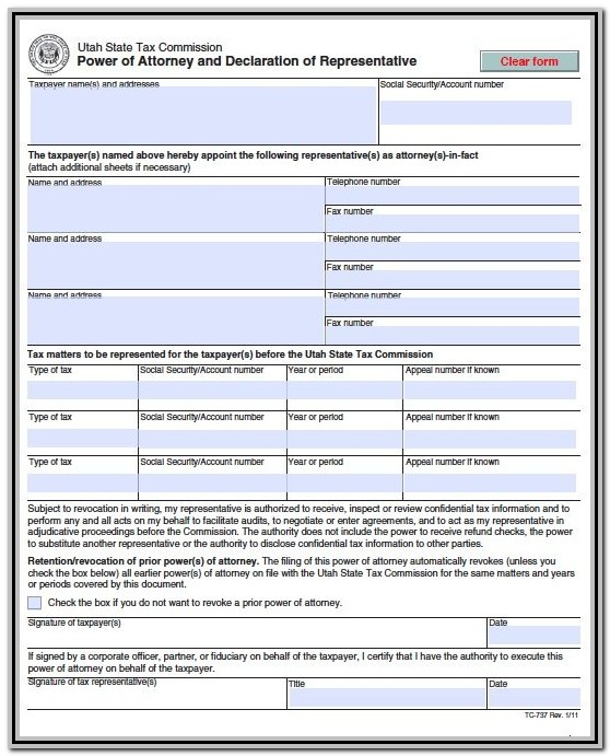 Power Of Attorney Form Utah Medical